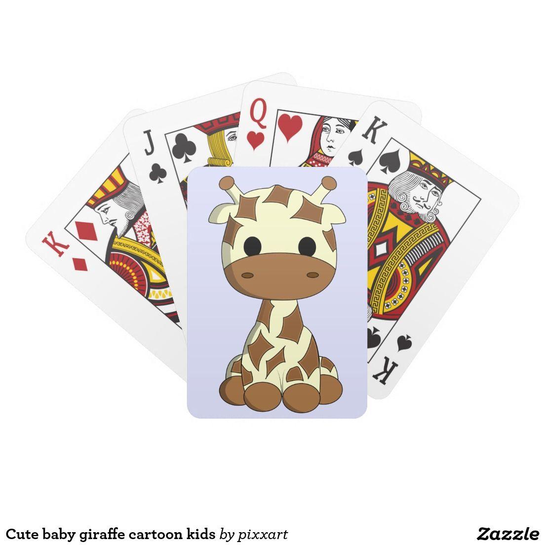 Cute Baby Giraffe Cartoon Kids Playing Cards Zazzle Com