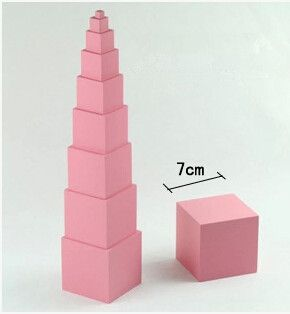 Home Montessori Family Version Pink Tower Without Stand 0.7 Cm To 7cm Early Childhood Education Preschool Training Course