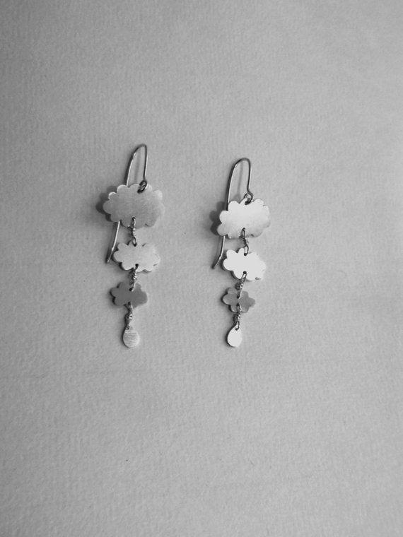 boucles d'oreilles  trois nuages argent by natantiabijoux on Etsy