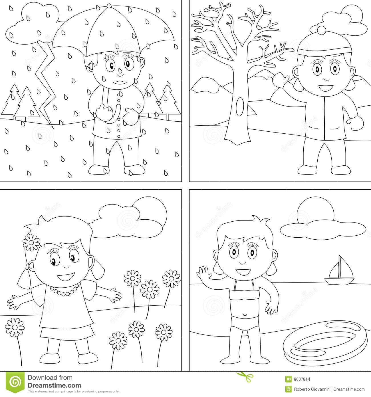 Printable Seasons Coloring Pictures With Seasons Coloring Pages | ใบ ...
