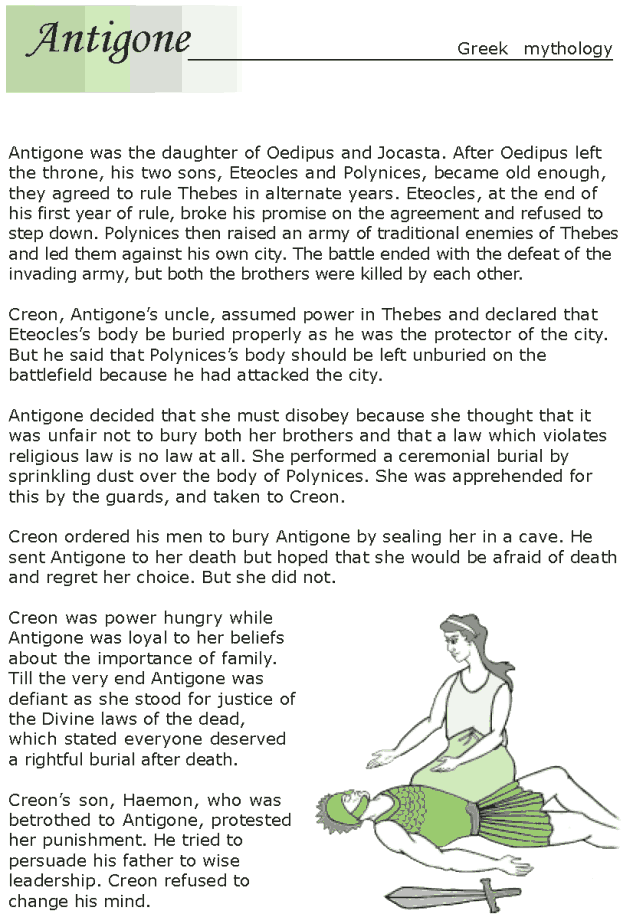 Grade 7 Reading Lesson 22 Myths And Legends Antigone 1 English