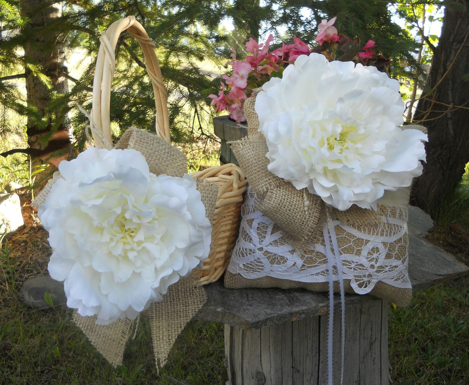 Flower Girl Baskets Burlap And Lace : Flower girl basket and ring bearer pillow wedding set for