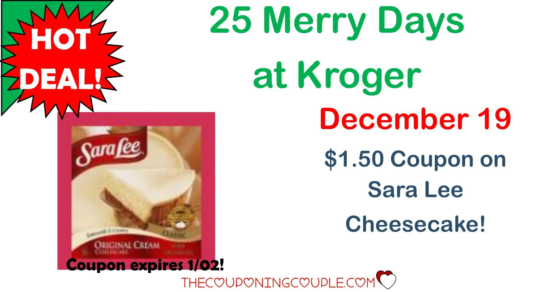WOOHOO! The 25 Days of Kroger are here! Download a coupon to get $1.50 off Sara Lee Cheesecake! Click the link below to get all of the details ► http://www.thecouponingcouple.com/25-merry-days-of-kroger-1128/ #Coupons #Couponing #CouponCommunity  Visit us at http://www.thecouponingcouple.com for more great posts!