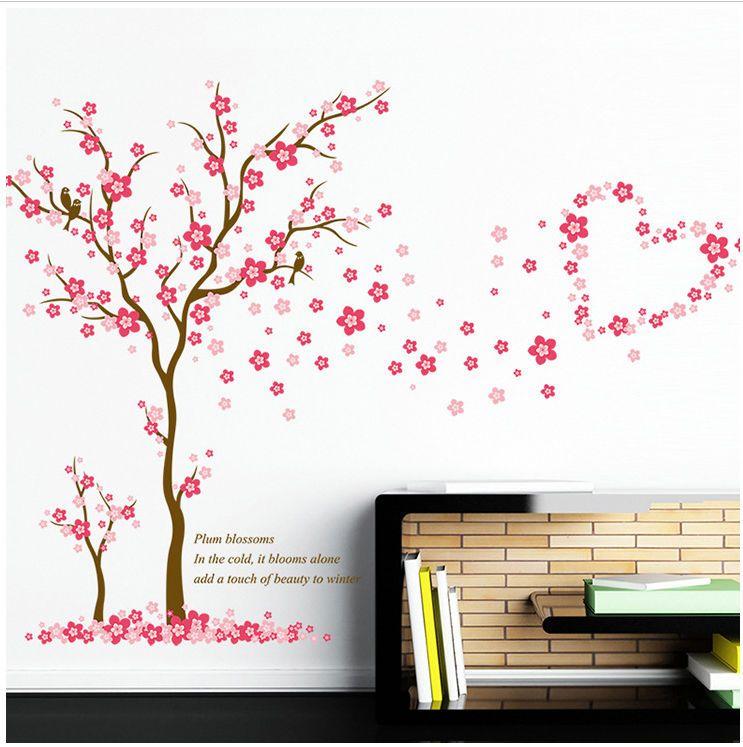 Wandtattoo Mädchen Baum Herz pink rosa Blume Sticker Kinderzimmer ...
