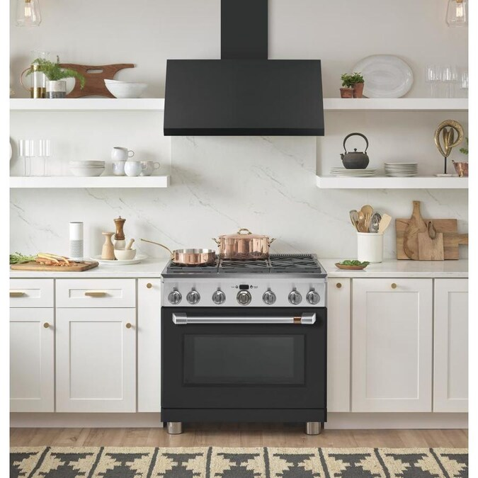 Cafe 36 In Ducted Matte Black Wall Mounted Range Hood Lowes Com Kitchen Style Black Appliances Kitchen Ge Cafe Appliances