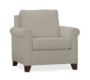 Cameron Upholstered Roll Armchair, Polyester Wrapped Cushions, Performance Canvas Silver Taupe