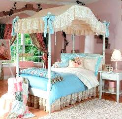 Canopy Bedroom Sets Girls canopy covered bed for a little girls vintage room | humble abode