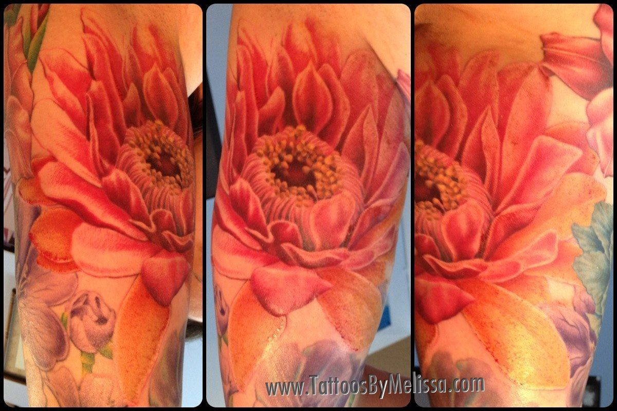 Realistic cactus flower in progress on a girl 39 s underarm for How to email a tattoo artist