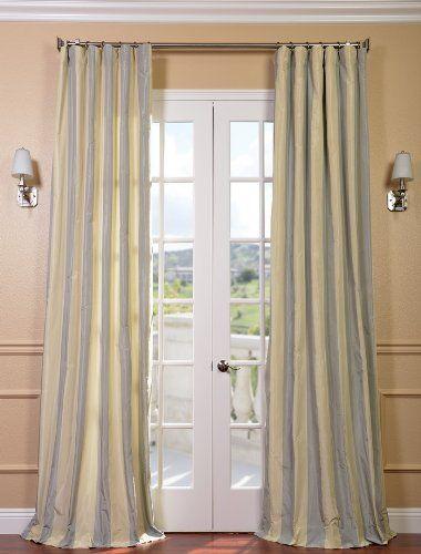 Hampton Faux Silk Taffeta Stripe Curtain 89 00 Blue Curtains