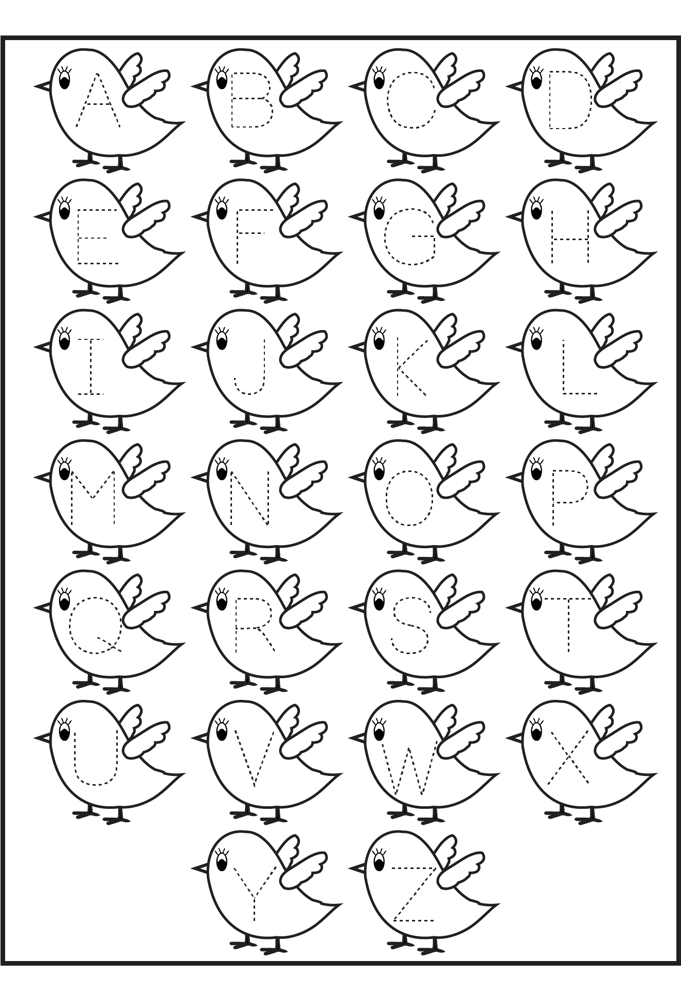 Letter Tracing Birds Printable Worksheets For Kids