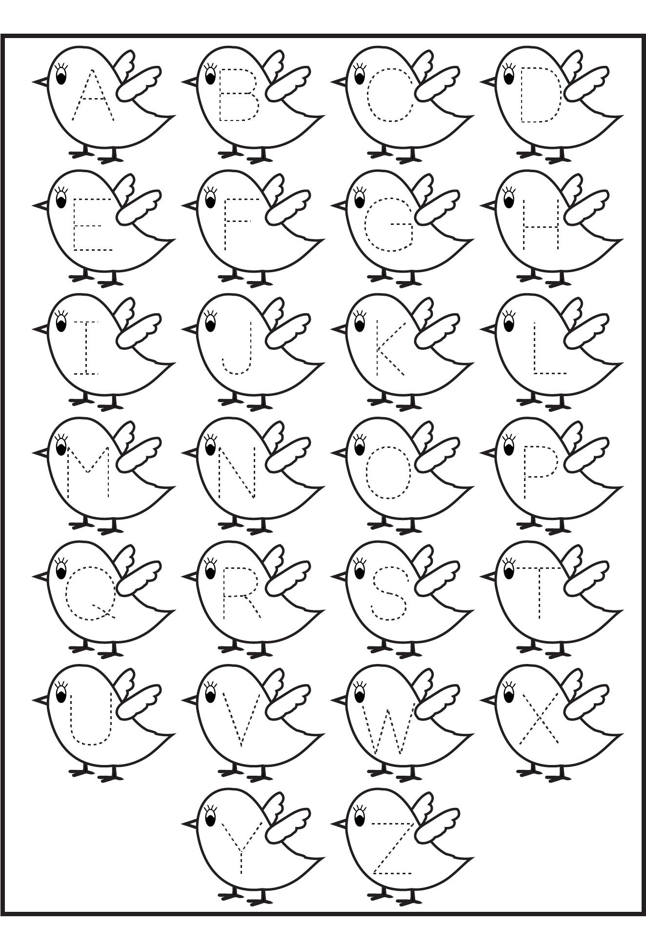 Letter Tracing Birds Printable Worksheets For Kids