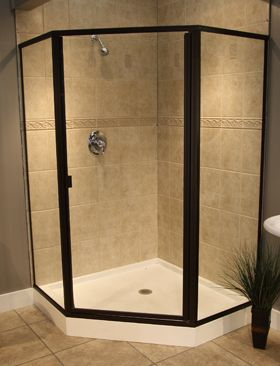 Swing Shower Doors With Neo Angle Panels Shower Doors Semi Frameless Shower Doors Shower Enclosure