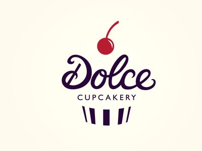 Dolce Cupcakery Logo, simple, cursive, print, fruit, clean