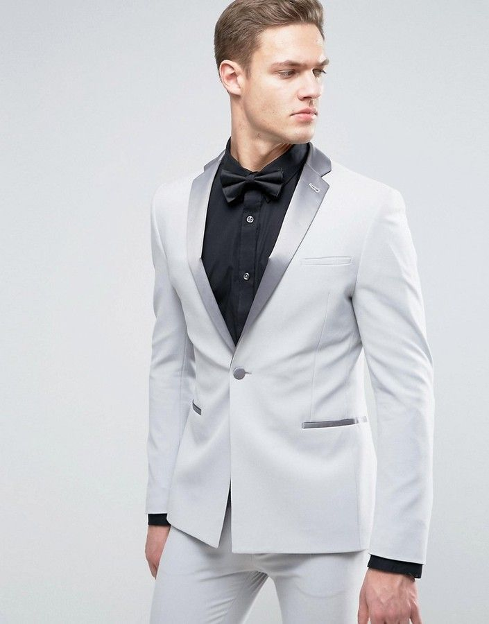 ASOS Super Skinny Prom Tuxedo Suit Jacket With Satin Lapel In Gray ...