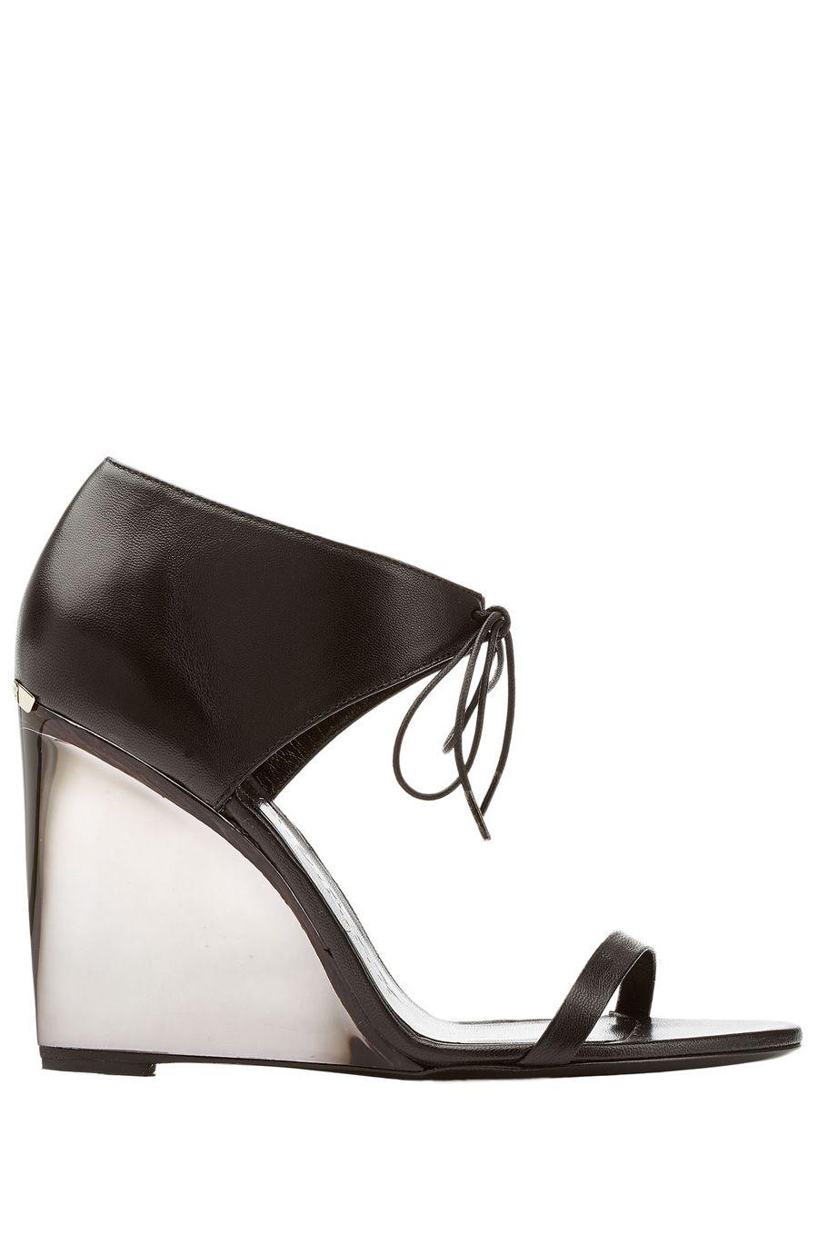 c7e3e1e52b5 BURBERRY Leather Wedges With Transparent Heel