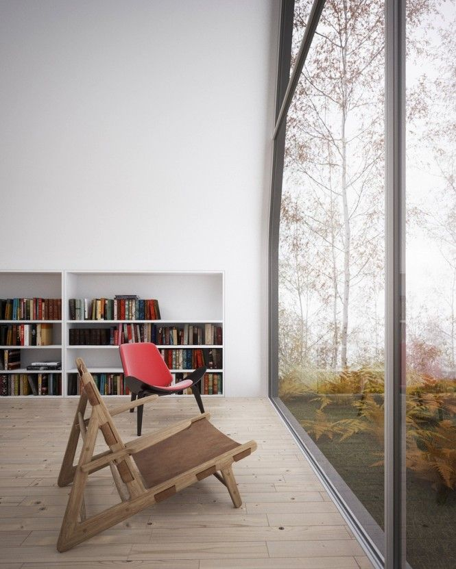 Decorating, Home Library Huge Glass Window Wooden Chair: Relaxing ...