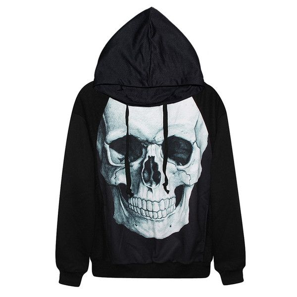 Black Womens Cool Skull Printed Halloween Hoodie ( 31) ❤ liked on Polyvore  featuring tops 62e9438da