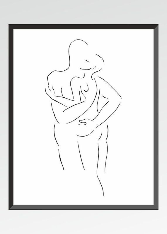 Nude sketch art print. A4. Slightly erotic art for bedroom. Black ...