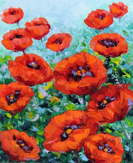 Poppy Red Flower Garden Palette Knife Impasto by