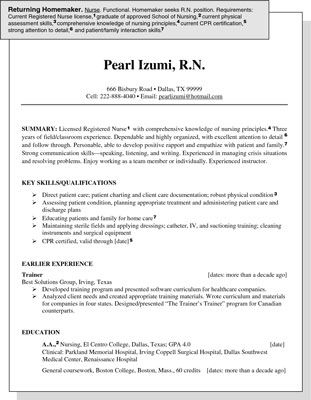 Sample Resume For A Homemaker ReEntering The Job Market
