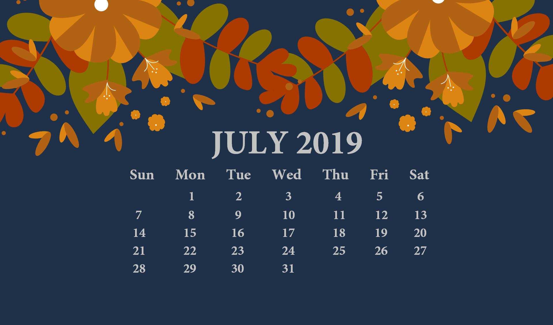 July 2019 Desktop Wallpaper With Calendar Calendar Wallpaper Desktop Calendar July Calendar