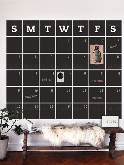 Chalkboard Calendar Wall Decal Extra Large Stay Organized With - Wall decals you can write on