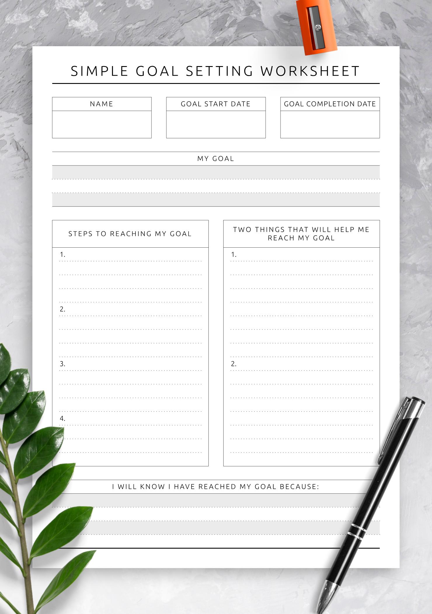 Simple Goal Setting Worksheet