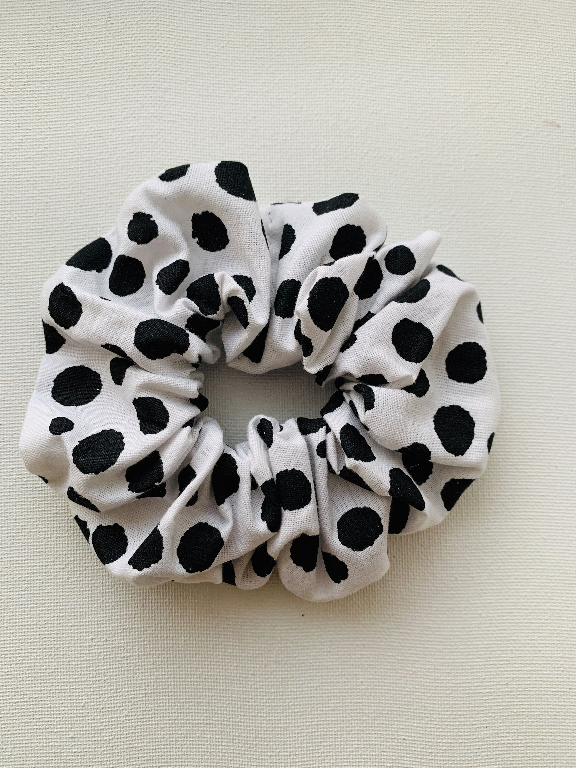 Dalmatian Dots Hair Scrunchie, Scrunchy, Top Knot, Hair Tie, Hair Elastic, Hair Accessories, Gift, Present, Handsewn /; #hairscrunchie
