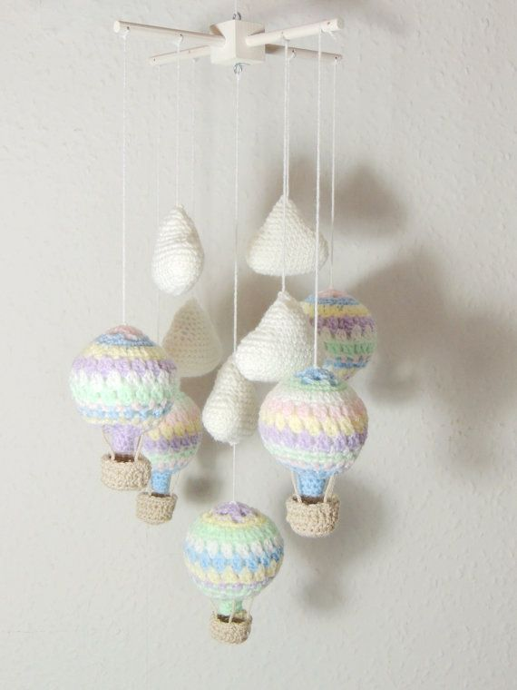 Hot Air Balloon Mobile Clouds Crochet Nursery Mobile | Pinterest ...