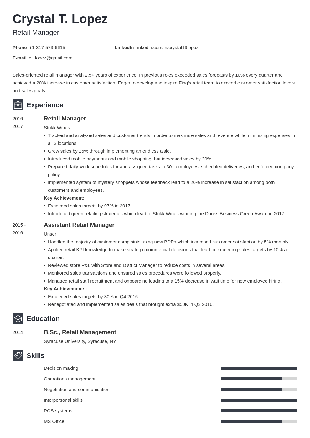 retail manager resume example template newcast in 2020