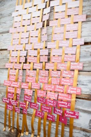 Ombre Escort Cards lke the idea of hanging the cards on a ribbon