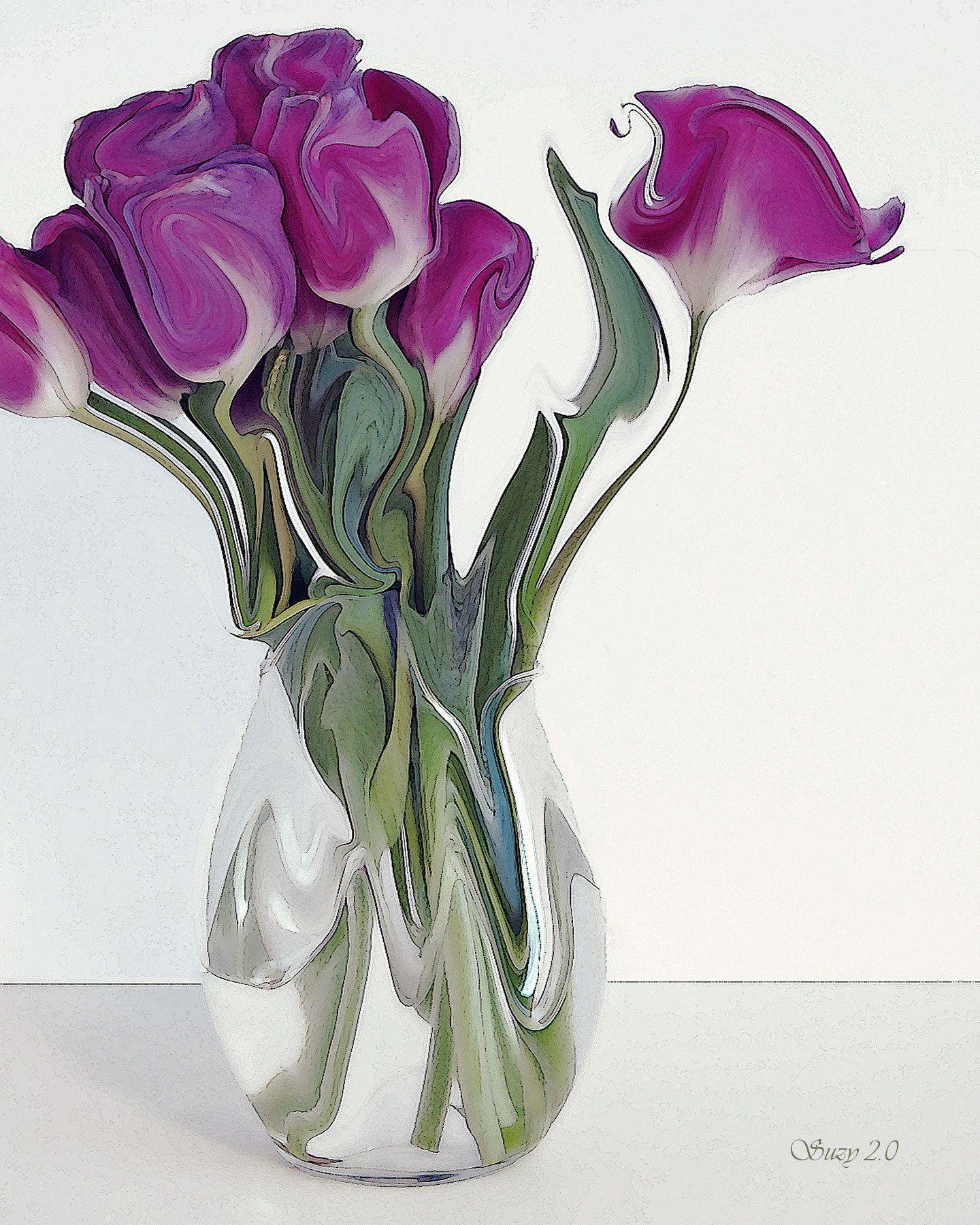Prima Ballerina Abstract Purple Tulip Fine Art Print Suzy2point0 Fine Art Prints Purple Tulips Flower Bouquet Painting