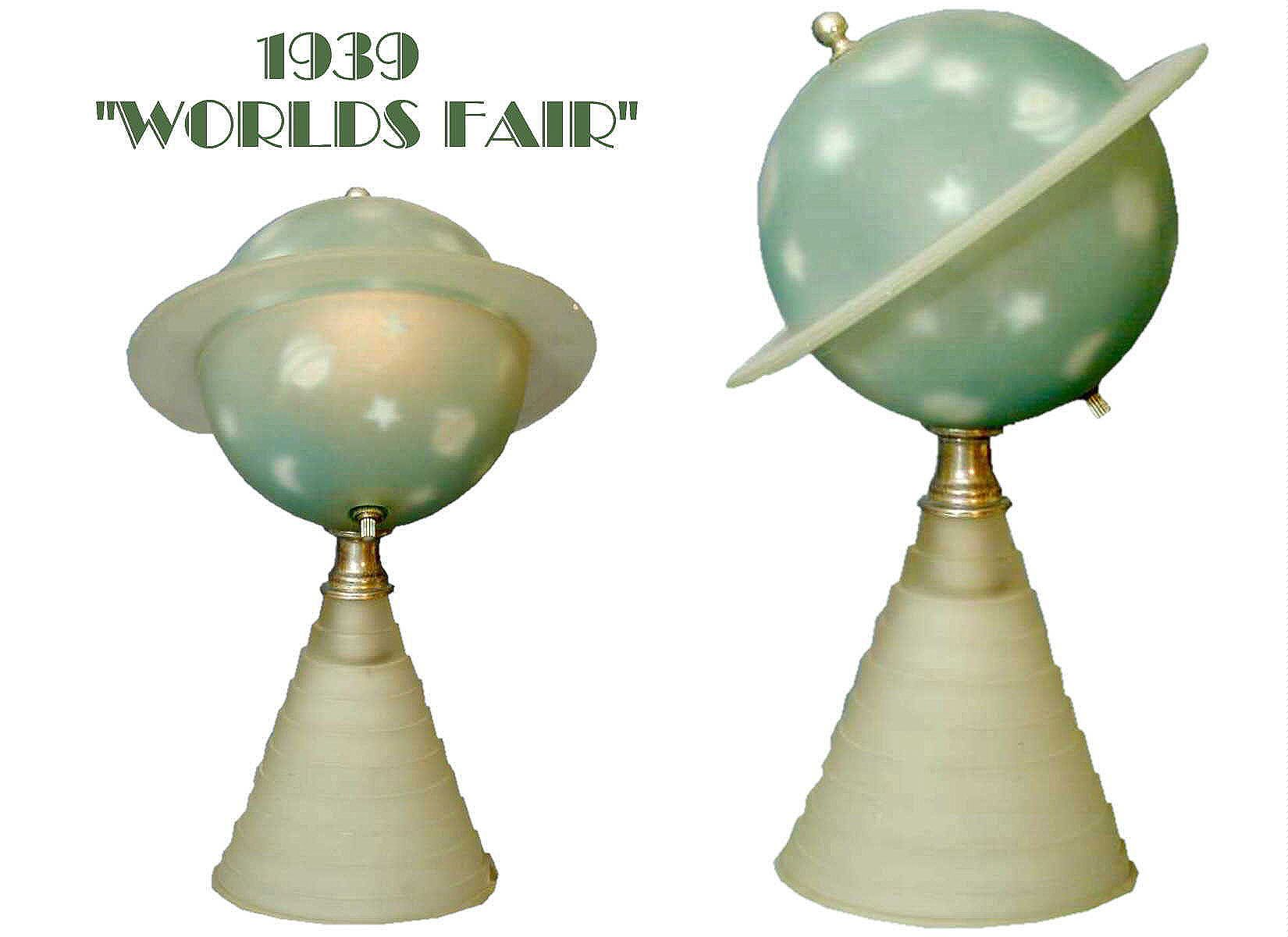 Lighting Lamp Worlds Fair Saturn Lamp 1939 Produced By Houze Glass Company Lamp Is Very Deco Reversed P Lamp Light Lamp Reverse Painted