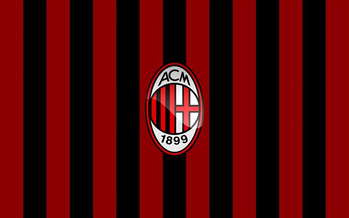 Lataa kuva AC Milan, clours, lippu, jalkapallo, Seria A, logo, Italia