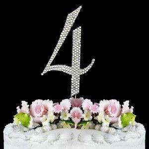 Large Rhinestone NUMBER (4) Anniversary Birthday Wedding Cake topper FREE SHIP | eBay