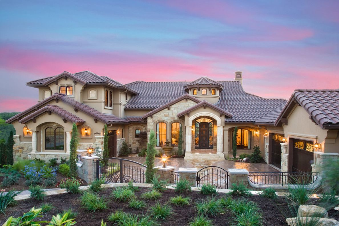 25 stunning mediterranean exterior design roof tiles for Custom home design ideas