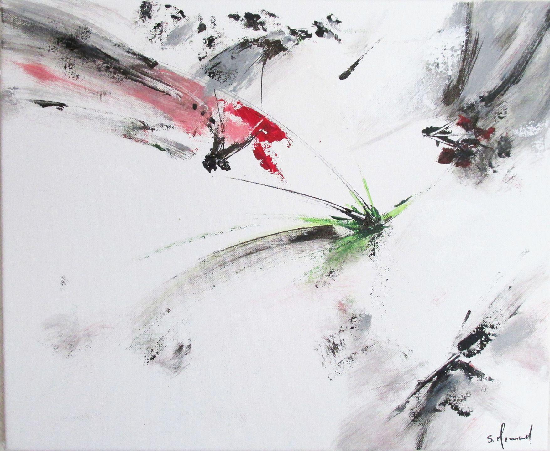 peinture moderne acrylique blanc rose rouge gris noir sur ch ssis toile coton 46 x 38 cm. Black Bedroom Furniture Sets. Home Design Ideas