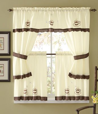 5 Pc Cuppa Joe Coffee Cafe Curtain Set From Collections Etc