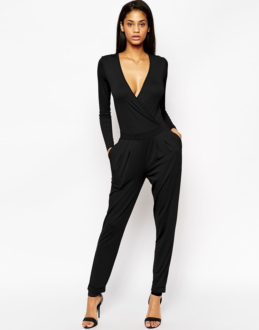 b9f1d1c5c5f5 Image 1 of ASOS Wrap Front Jersey Jumpsuit with Long Sleeves