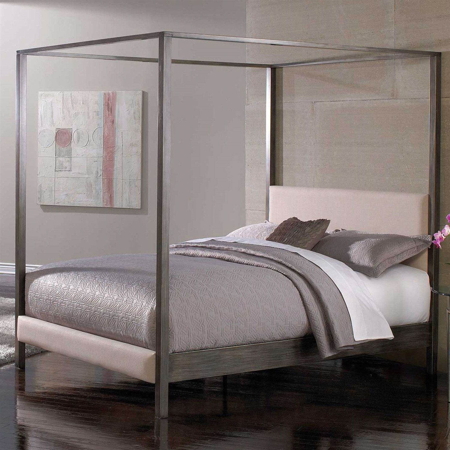 Queen Size Modern Metal Platform Canopy Bed Frame With Upholstered
