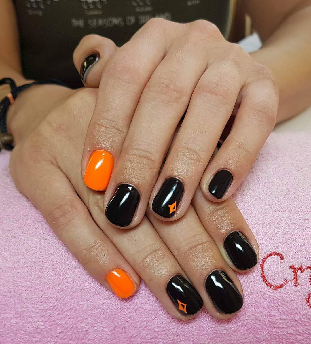 Orange Black Nails Google Haku Black Nails Nails Orange Nails