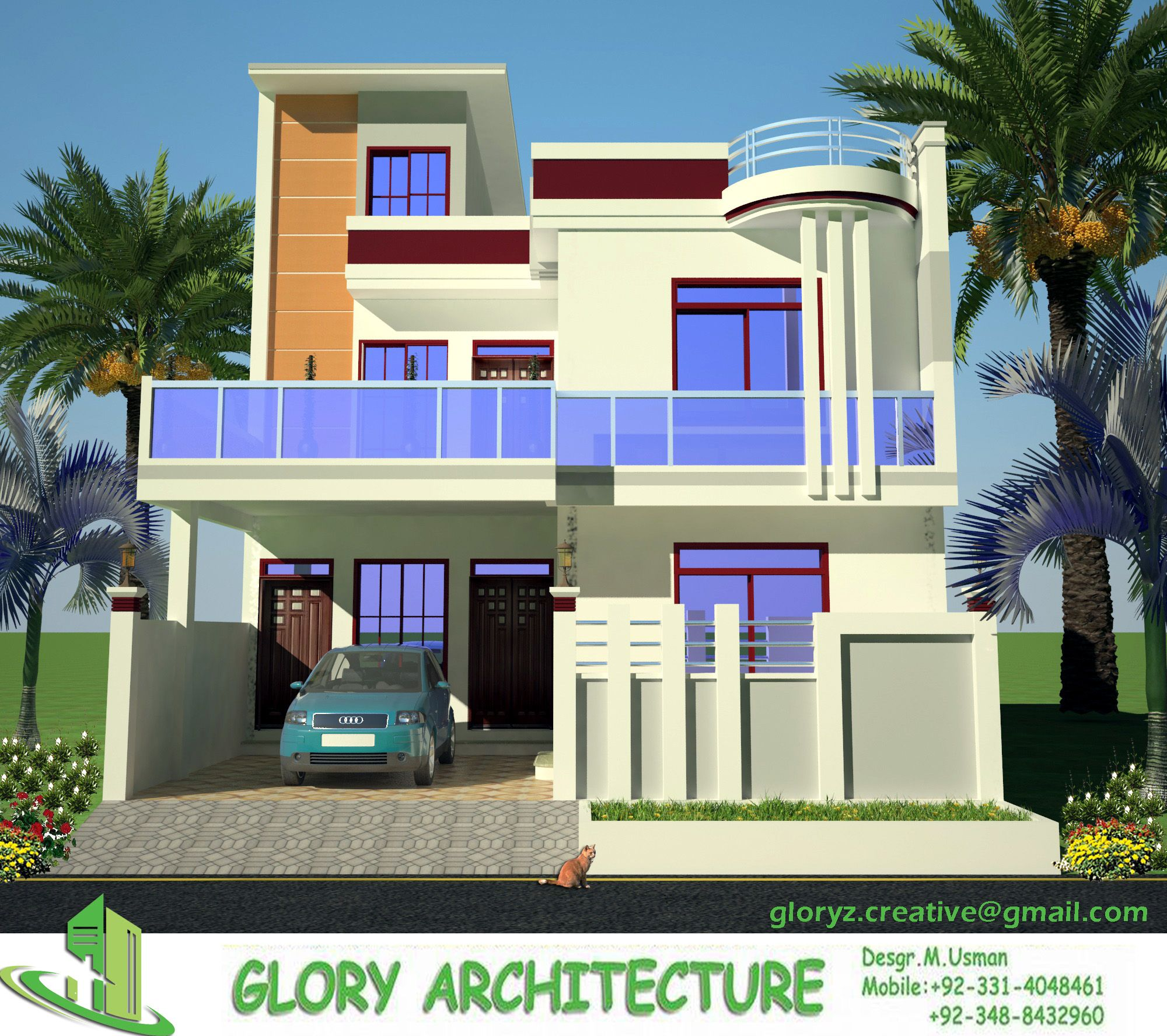 3d Front Elevation Design 3d Building Elevation: Jinnah Garden House Elevation