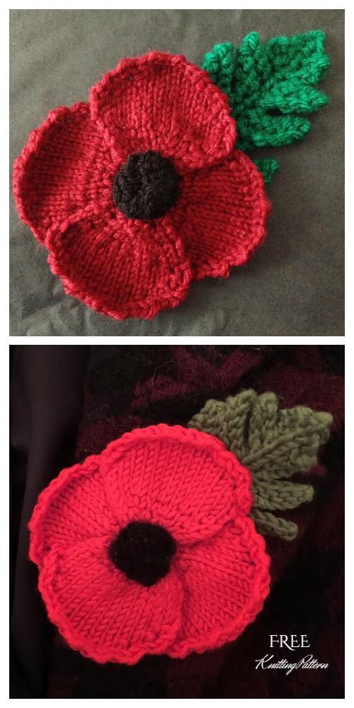 Knit Poppy Flower Free Knitting Patterns - Knitting ...
