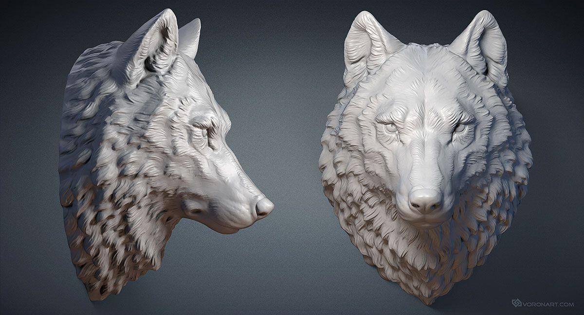Wolf head digital sculpture. 3d model. MAX, STL, OBJ files