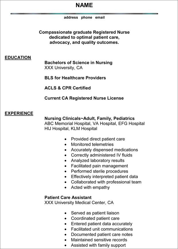 Experienced Nurse Resume \u2013 Registered Nurse Resume Elegant New Grad