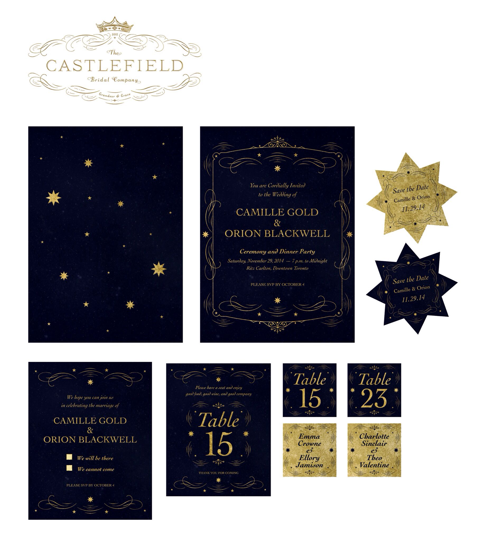 castlefield bridal celestial invitation design www