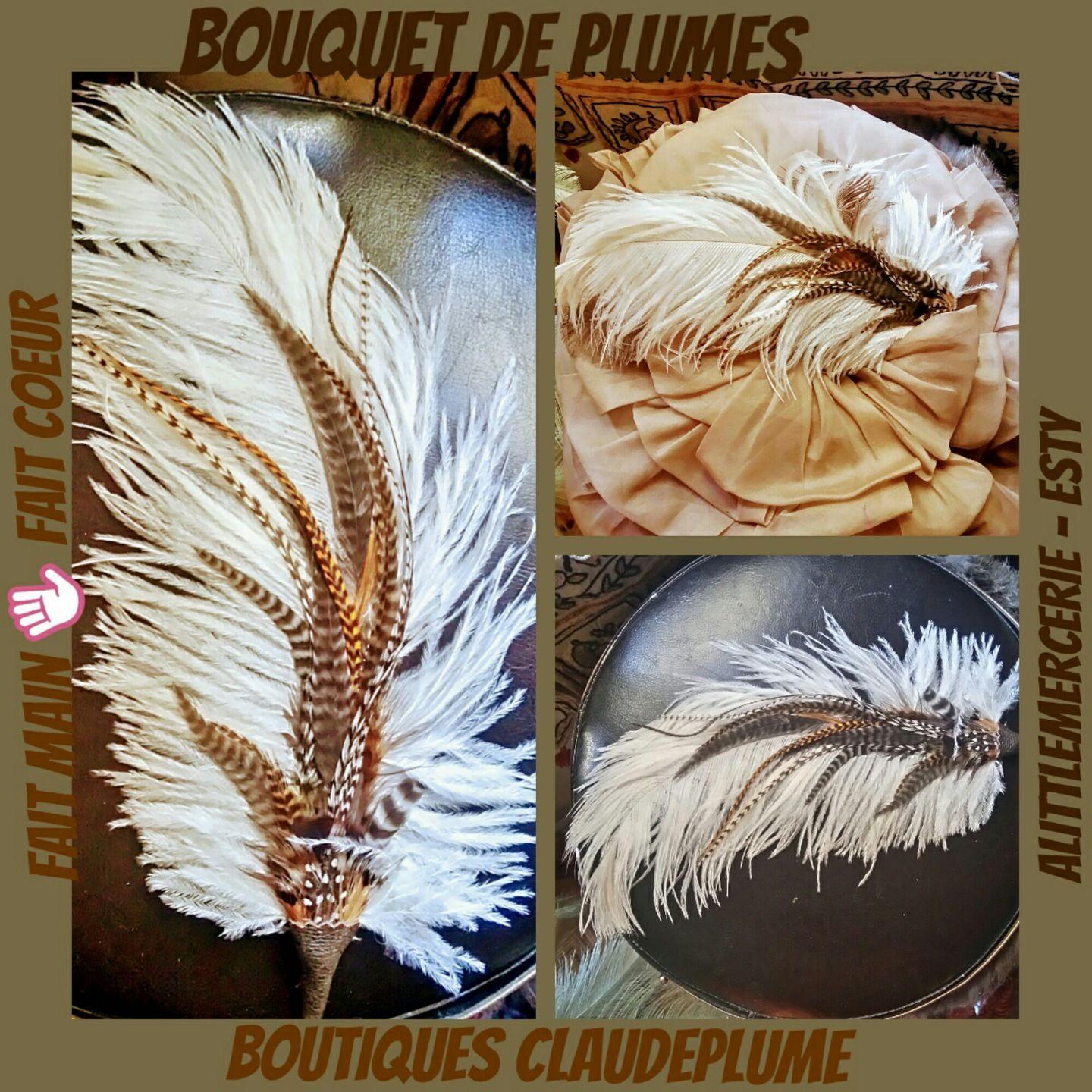 100% authentique Livraison gratuite dans le monde entier meilleur service 3 bouquets de plumes d'autruche et coq grizzly   Plume ...