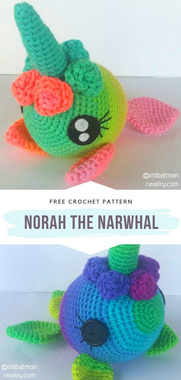 Barney Whale and Nina Narwhal Amigurumi Pattern | 1260x600