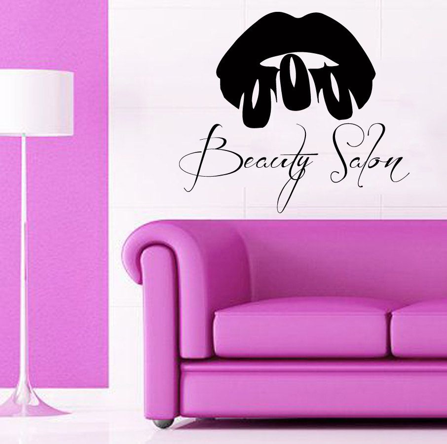 Custom wall decals girl model make up lips nails manicure for Stickers salon design
