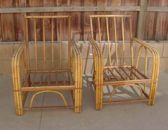 Amazing Pair Of Vintage Rattan Bar Stools And Chairs   Tiki Central